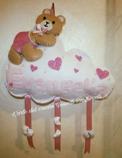 Fiocco nascita coccarda feltro pannolenci nome personalizzato orsetto nuvola