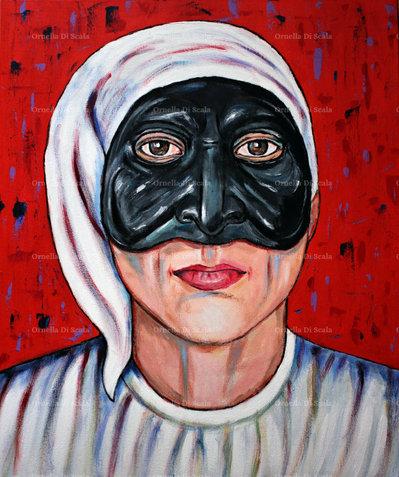 Dipinto quadro moderno pulcinella pop art dipinto a mano Napoli rosso arredo
