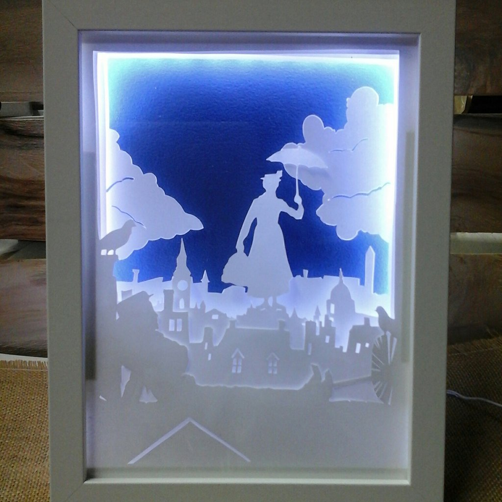Quadro luminoso a led Mary Poppins per camera dei bambini