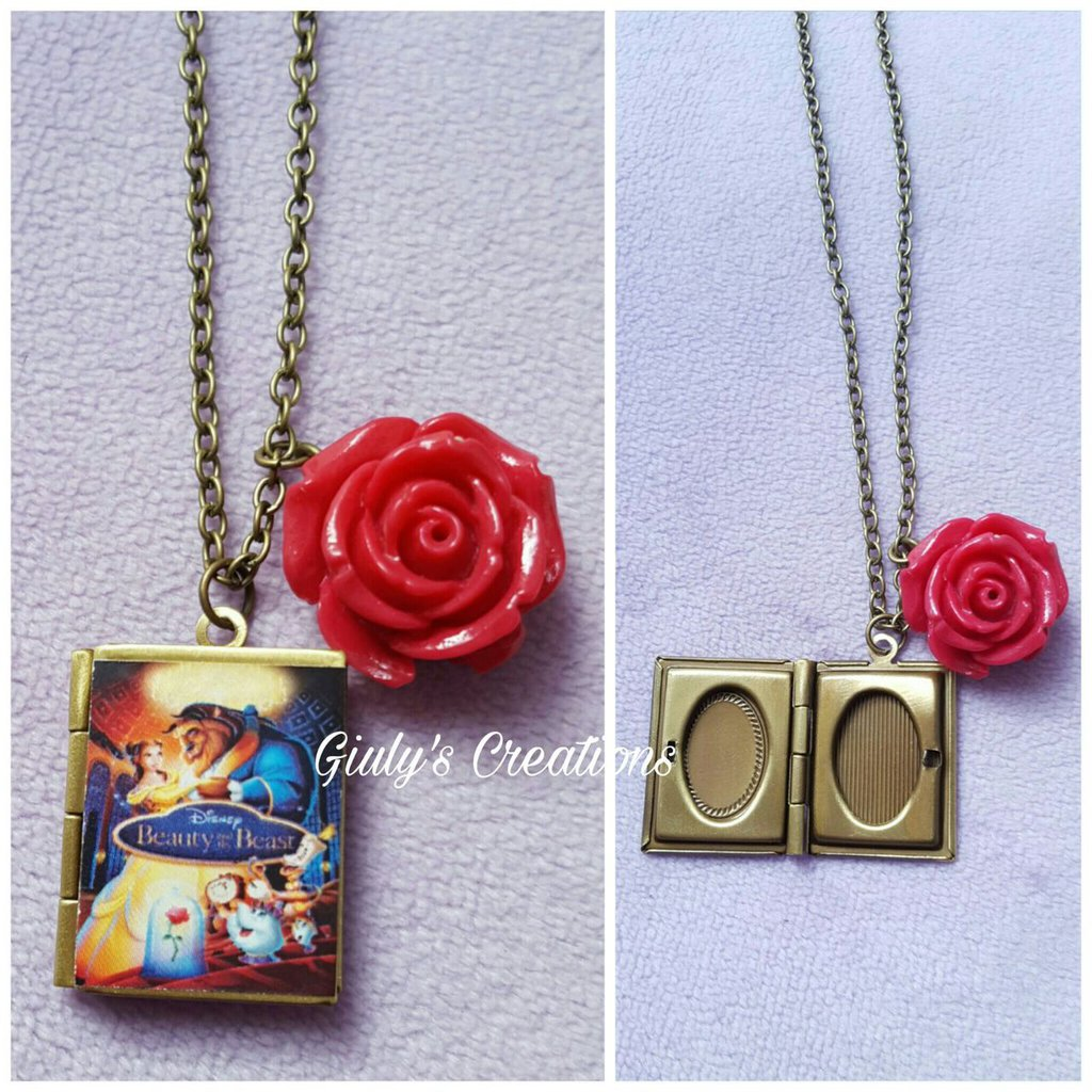 Collana portafoto La Bella e la Bestia Beauty and the Beast libro Tale as old as time be our guest Belle Lumière Tockins Mrs Bric Chicco Rosa Incantata enchanted rose
