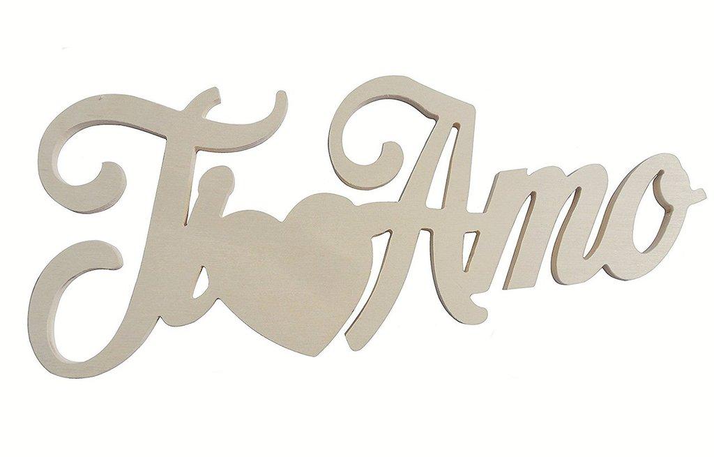 """Scritta in legno """"Ti amo"""" con cuore"""