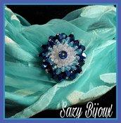 SPILLA in tessitura di CRISTALLI: Blu-turchese