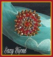 SPILLA in tessitura di CRISTALLI: Bronzo, Rosso, Argento