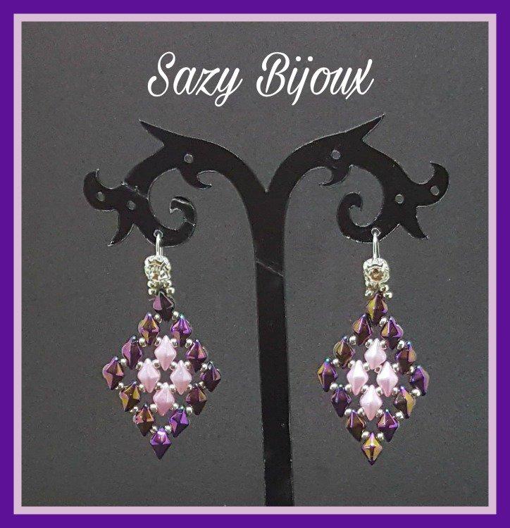 DIAMOND Orecchini in tessitura di perline con punto luce