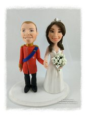 Cake topper sposi mignon caricature in porcellana