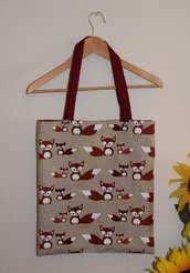 SHOPPER LINO E COTONE CON VOLPINE