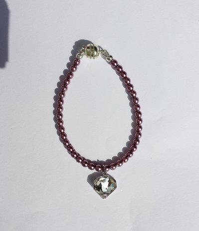 Bracciale con perle malva e ciondolo Swarovski crystal