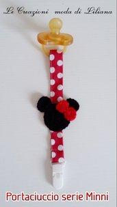Catenella di stoffa per ciuccio serie Minnie