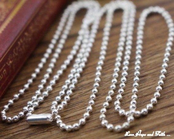 1 Base collana a pallini color argento 2,4mm (lungh.65cm)