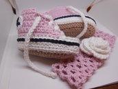 Set scarpine sportive + fascia per capelli con fiore  bianco rosa, idea regalo.