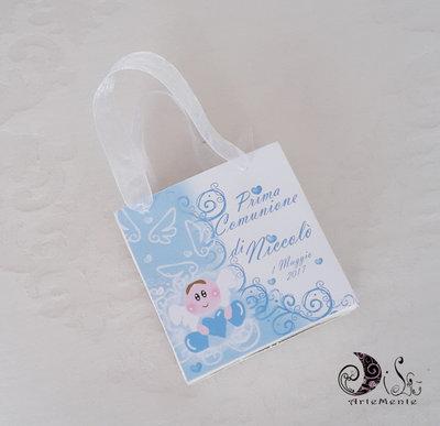 Bomboniera comunione gift bags portaconfetti angelo con cuore per bimbo