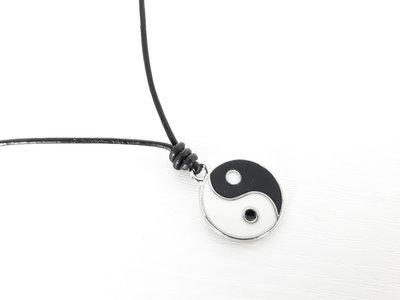 Collana Yin yang in cuoio da Uomo