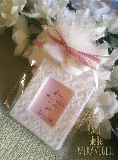 Cornici in gesso segnaposto bomboniere matrimonio comunione battesimo