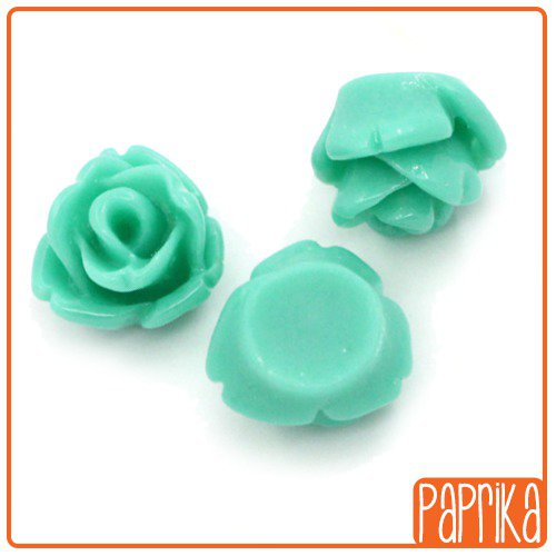 10 Cabochons Rose 7mm