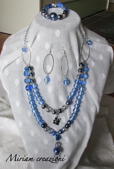 Parure con perle azzurre argento: collana, orecchini, bracciale