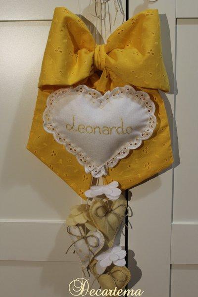 Fiocco nascita giallo limone in stile Shabby