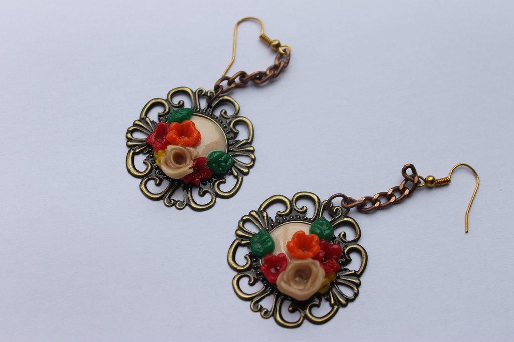 """""""le fiorite"""" orecchini tondi multicolor"""