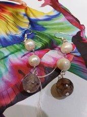 orecchini con perle e agata
