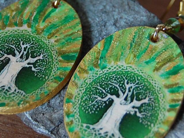 Orecchini linea Celtic Elf albero della vita verde