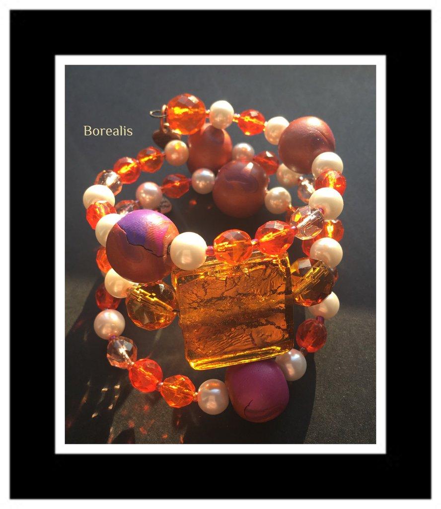 Bracciale Molla Armonica Argilla Polimerica Perle di Boemia Cristalli di Boemia Vetro Artigianale