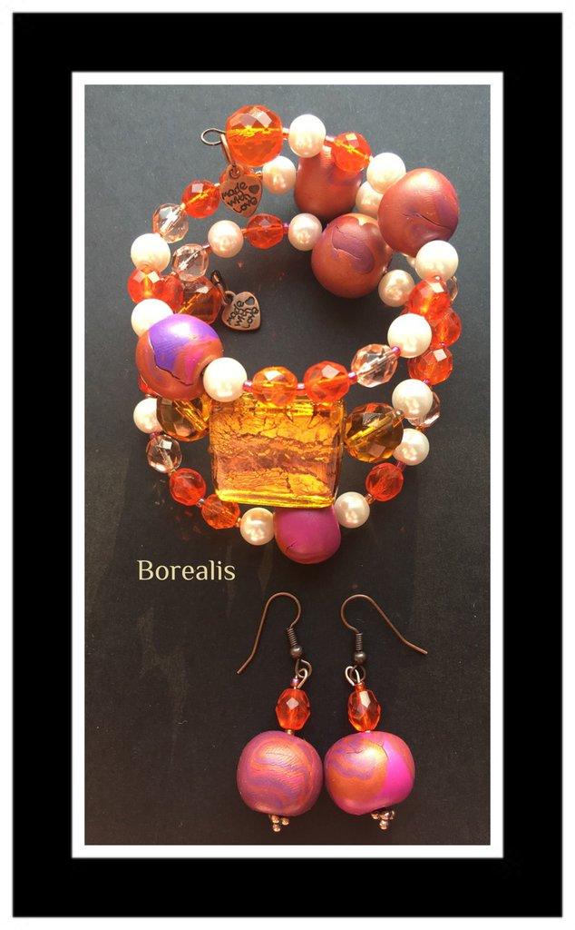 Parure Molla Armonica Argilla Polimerica Perle di Boemia Cristalli di Boemia