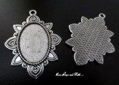 NOVITA'! Base cabochon color argento (52x37x2mm) (cod.50206C)