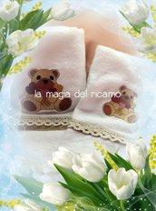 Set asciugamani viso+ospite orso cuori