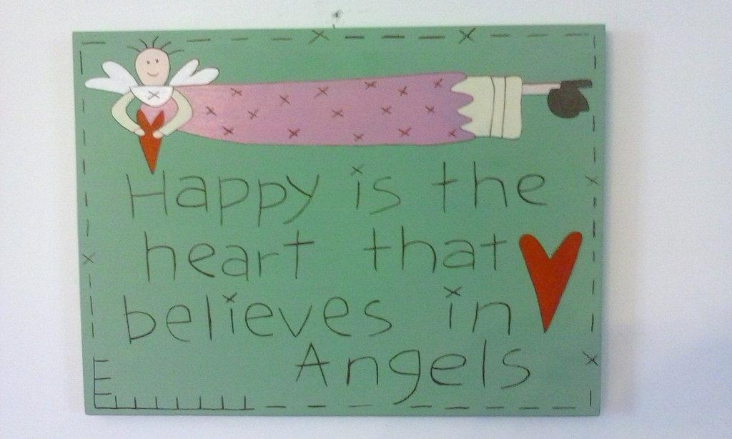 """Pannello in legno """"Angeli"""" dipinto a mano con colori acrilici"""