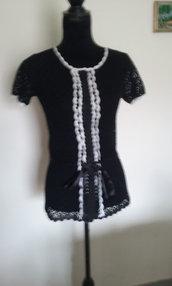 maglia donna cotone maglia nera