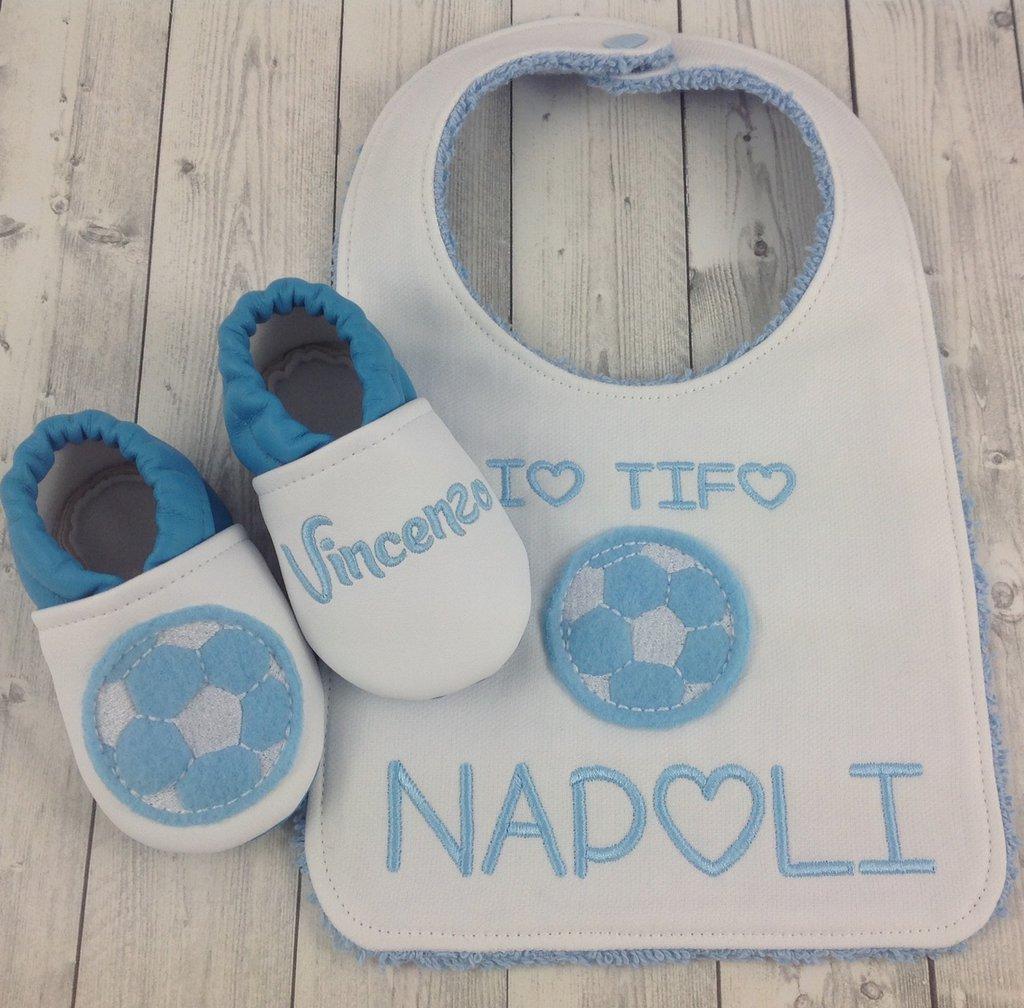 Set bavaglia e scarpine Sportivo personalizzato con nome