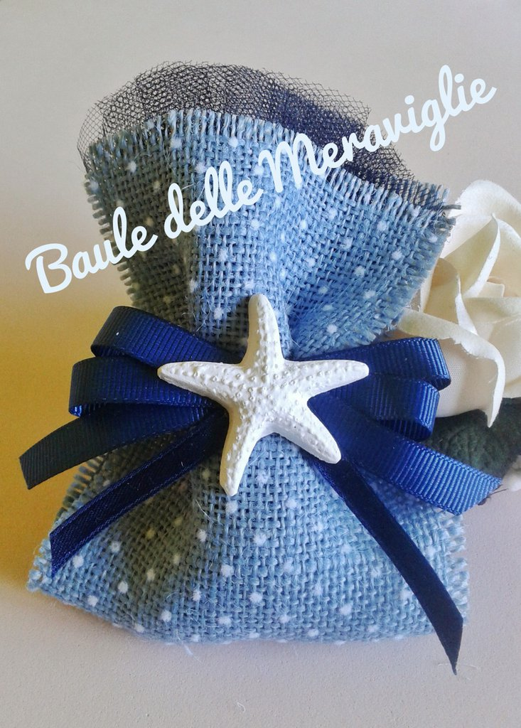 Matrimonio Tema Juta : Bomboniera matrimonio tema mare in juta e stella marina