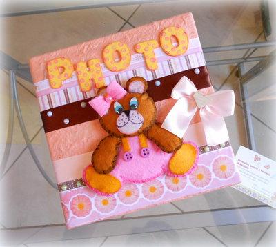 Album portafoto (100 foto 13x18) con copertina realizzata a mano e applicazione orsetto in feltro