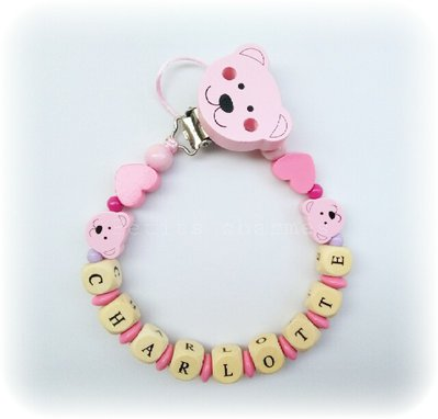 Catenella porta-ciuccio modello Orso rosa