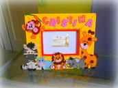 Cornici portafoto per bambini dipinte in acrilico e decorate in fommy e feltro