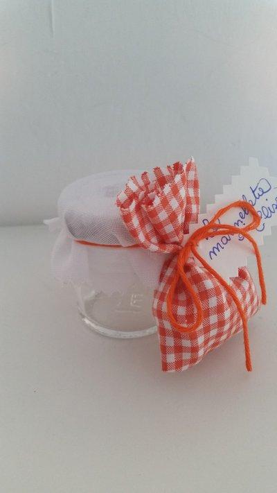 Barattolini bomboniere con sacchetto in stoffa
