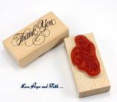 """Timbro """"Thank you"""" in legno e gomma (8x4x2cm) (cod. nuovo)"""