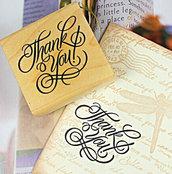 """Timbro """"Thank you"""" in legno e gomma (5x5x2 cm) (cod. nuovo)"""