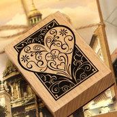 """Timbro in legno e gomma """" Cuore""""(7,5x2,5x2,3cm) (cod. nuovo)"""
