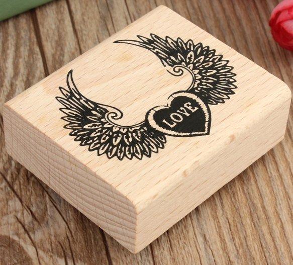 """Timbro in legno e gomma """" Ali-Wings""""(60x50x20mm) (cod. nuovo)"""