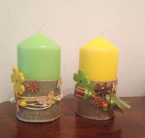 Candele decorate a tema primavera