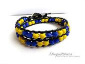 Bracciale da UOMO artigianale con perle stile Chan Luu Wrap Giallo e Blu
