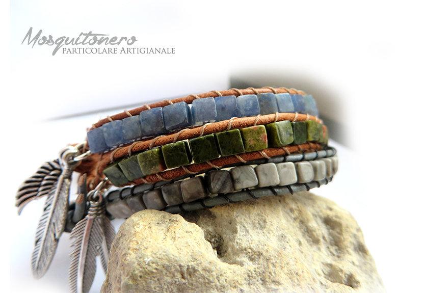 Bracciale da UOMO artigianale con perle cubiche in pietra stile Chan Luu Wrap Bracelet