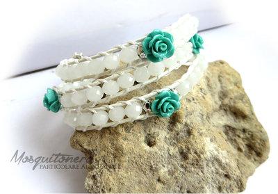 Bracciale da Donna artigianale con perle sfaccettate bianche e rose verde acqua stile Chan Luu Wrap Bracelet