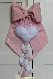 "Fiocco nascita rosa Shabby Chic ""passerotti"""
