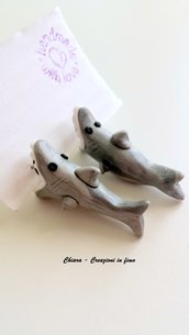Orecchini da lobo in fimo handmade Squali kawaii miniature idee regalo amica compleanno