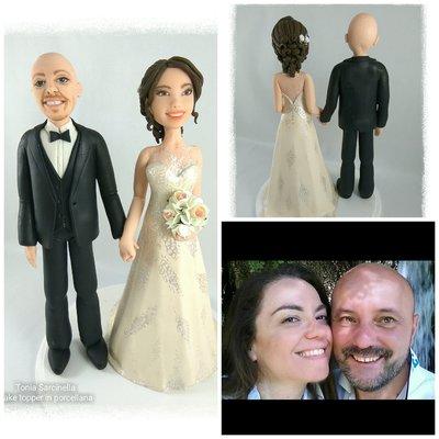 Cake topper sposi in porcellana