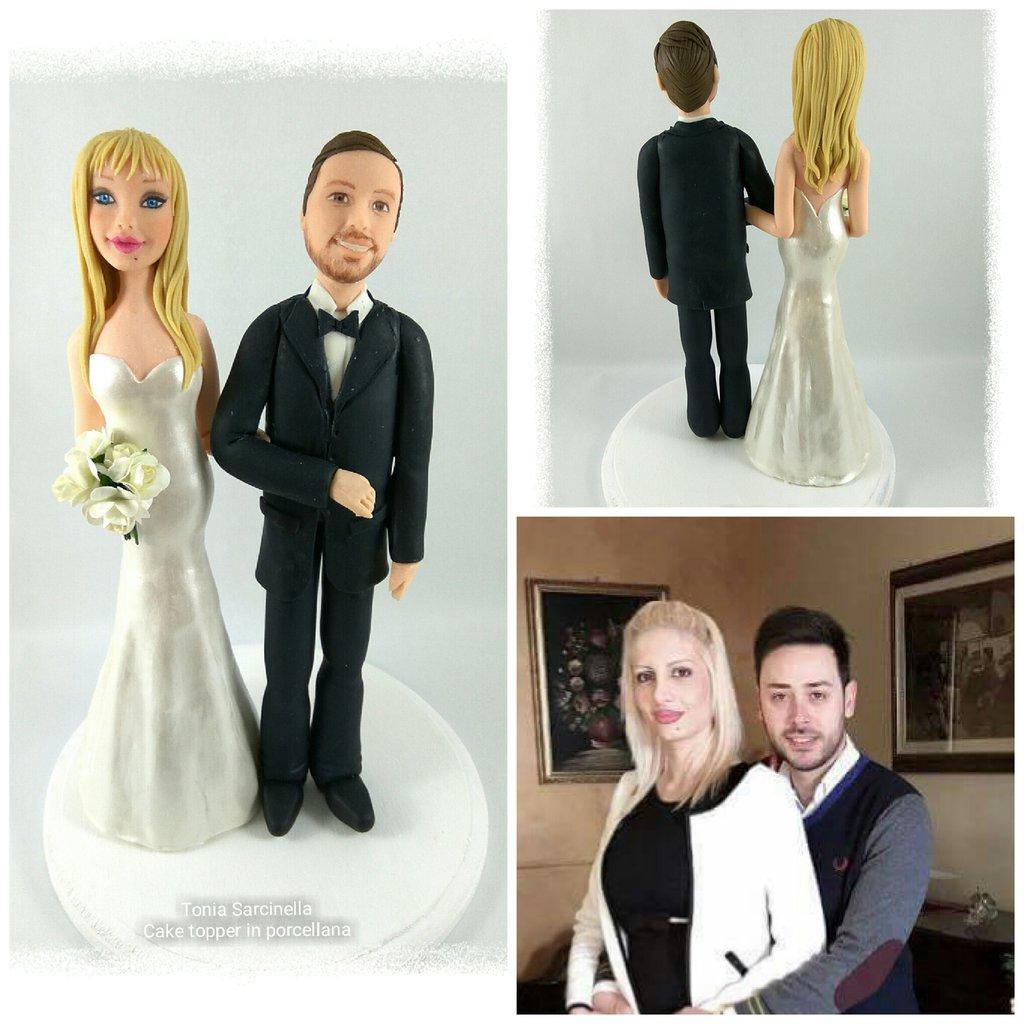Cake topper personalizzato in porcellana fredda sposi