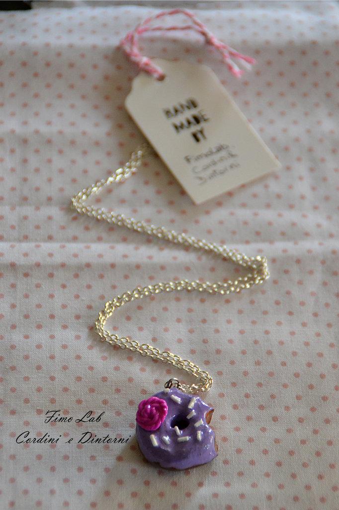 Collana lunga Silver con Donut lilla in Fimo