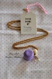 Collana lunga ottone con Macaron Lilla e perle