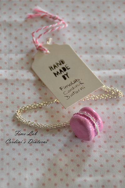Collana Silver con Macaron rosa in Fimo